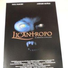 Cine: LICANTROPO - POSTER CARTEL ORIGINAL - PAUL NASCHY JACINTO MOLINA HOMBRE LOBO - AMPARO MUÑOZ. Lote 42279036
