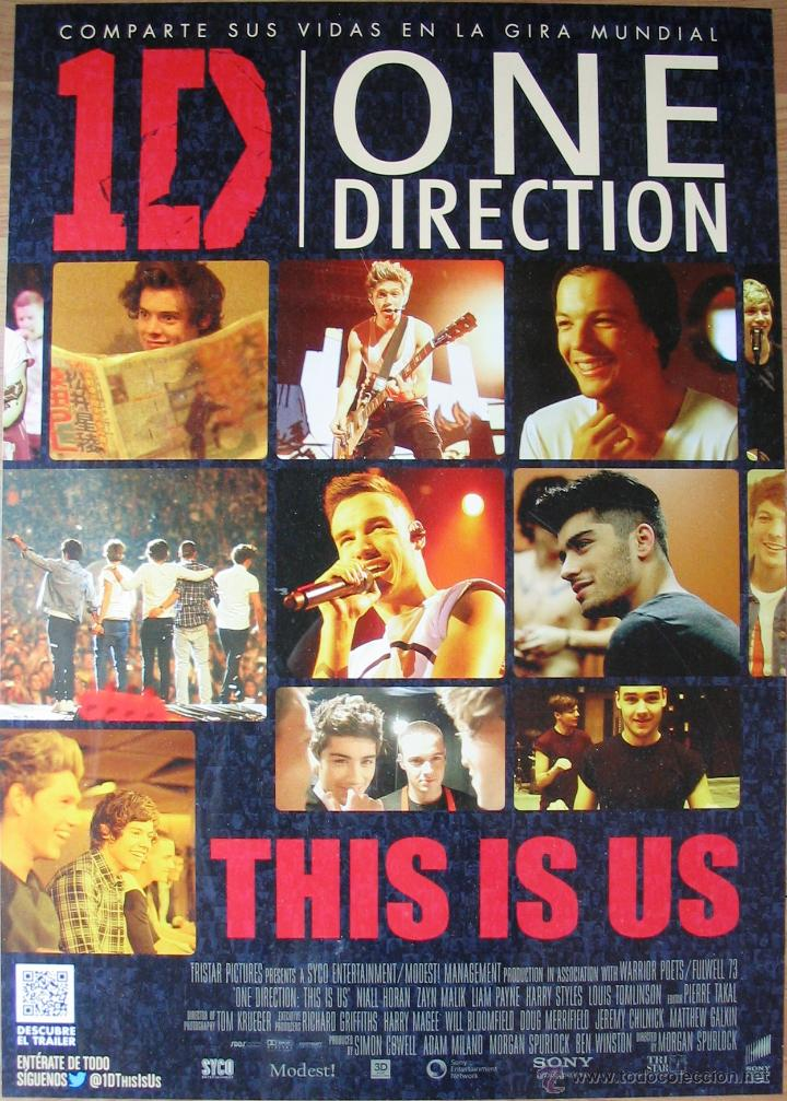 POSTER ORIGINAL ESPAÑOL ESTRENO DVD - ONE DIRECTION: THIS IS US - LIAM PAYNE, HARRY STYLES (Cine - Posters y Carteles - Documentales)