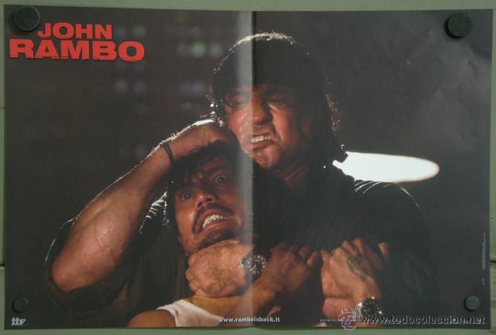 UK34 JOHN RAMBO / RAMBO 4 SYLVESTER STALLONE SET 4 POSTERS ORIGINAL ITALIANO 47X68 (Cine - Posters y Carteles - Acción)