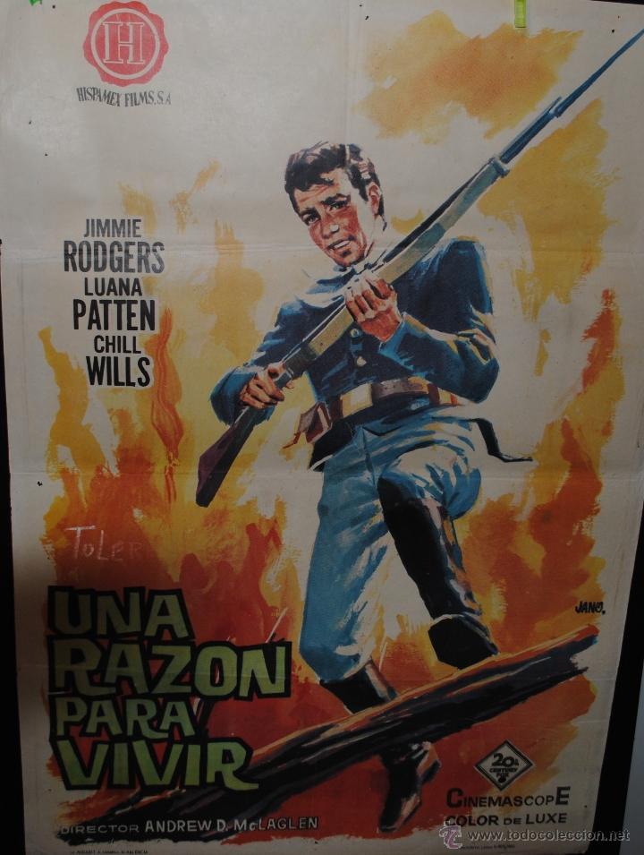 CARTEL DE CINE ORIGINAL DE LA PELÍCULA UNA RAZÓN PARA VIVIR, JANO, VALENCIA 1963, 70 POR 100CM (Cine - Posters y Carteles - Westerns)