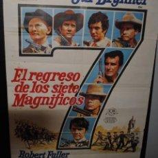 Cine: CARTEL DE CINE ORIGINAL DE LA PELÍCULA EL REGRESO DE LOS SIETE MAGNÍFICOS, 70 POR 100CM. Lote 73740914