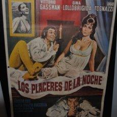 Cine: CARTEL DE CINE ORIGINAL DE LA PELÍCULA LOS PLACERES DE LA NOCHE, 70 POR 100CM. Lote 42057952