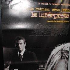 Cine: CARTEL DE CINE ORIGINAL DE LA PELÍCULA LA INTÉRPRETE, 70 POR 100CM. Lote 42066135