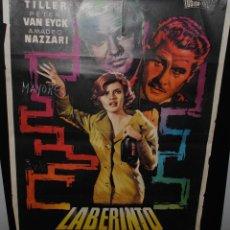 Cine: CARTEL DE CINE ORIGINAL DE LA PELÍCULA LABERINTO, 1962, 70 POR 100CM. Lote 42098657