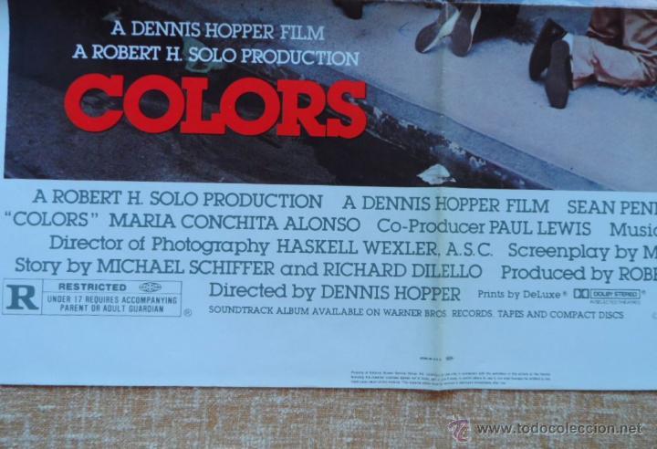 Cine: Colors (Colores) Póster original de la película, Doblado, 1988, Sean Penn, Robert Duvall - Foto 8 - 42275771
