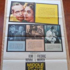 Cine: MIDDLE OF THE NIGHT (EN MEDIO DE LA NOCHE) PÓSTER ORIGINAL DE LA PELÍCULA, 1959, DOBLADO, KIM NOVAK. Lote 42327449
