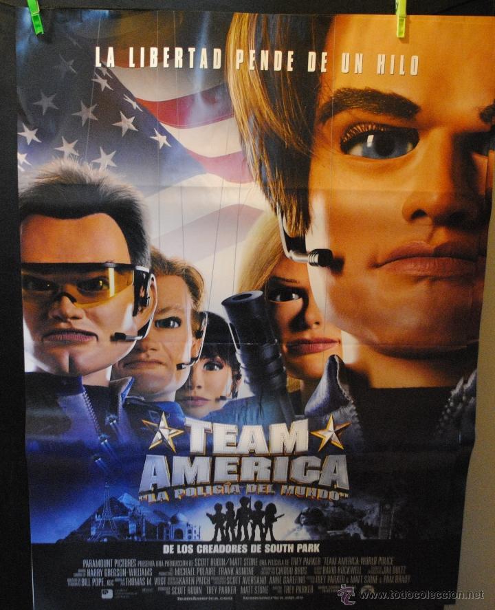 CARTEL DE CINE ORIGINAL DE LA PELÍCULA TEAM AMERICA, 70 POR 100CM (Cine - Posters y Carteles - Infantil)