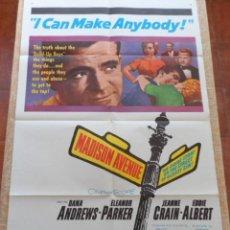 Cine: MADISON AVENUE (AVENIDA MADISON) PÓSTER ORIGINAL DE LA PELÍCULA, DOBLADO, 1961, DANA ANDREWS, PARKER. Lote 42368619