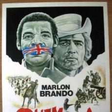 Cine: POSTER ORIGINAL ESPAÑOL - QUEMADA - MARLON BRANDO - GILLO PONTECORVO. Lote 42625462