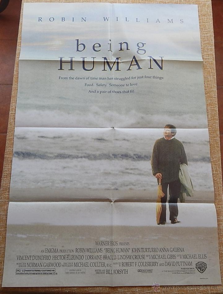 BEING HUMAN (SER HUMANO) PÓSTER ORIGINAL DE LA PELÍCULA, DOBLADO, ROBIN WILLIAMS, U.S.A. , AÑO 1994 (Cine- Posters y Carteles - Drama)