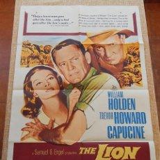 Cine: THE LION (EL LEÓN) PÓSTER ORIGINAL DE LA PELÍCULA, DOBLADO, HECHO EN U.S.A., 1963, WILLIAM HOLDEN. Lote 42919263
