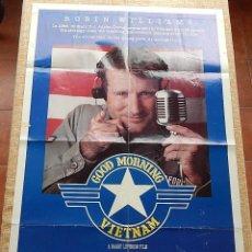 Cine: GOOD MORNING VIETNAM (BUENOS DÍAS VIETNAM) PÓSTER ORIGINAL DE LA PELÍCULA, DOBLADO, U.S.A., AÑO 1987. Lote 42927674