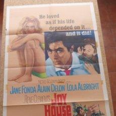 Cine: JOY HOUSE (LOS FELINOS) PÓSTER ORIGINAL DE LA PELÍCULA, DOBLADO, HECHO EN U.S.A., 1964, JANE FONDA. Lote 43021661