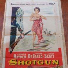 Cine: SHOTGUN (LA PRADERA SANGRIENTA) PÓSTER ORIGINAL DE LA PELÍCULA, DOBLADO, HECHO EN U.S.A., AÑO 1955. Lote 43097104