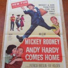 Cine: ANDY HARDY COMES HOME PÓSTER ORIGINAL DE LA PELÍCULA, DOBLADO, HECHO EN U.S.A., 1958, MICKEY ROONEY. Lote 43203110
