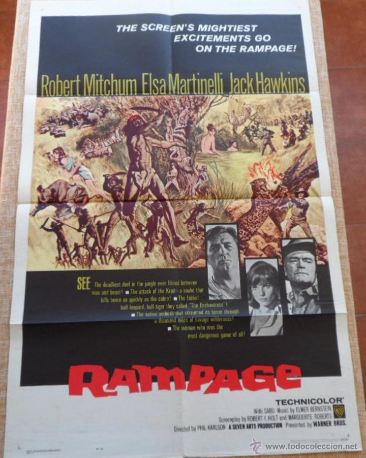RAMPAGE PÓSTER ORIGINAL DE LA PELICULA, ORIGINAL, DOBLADO, HECHO EN U.S.A., AÑO 1963 (Cine - Posters y Carteles - Aventura)