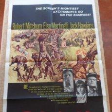 Cine: RAMPAGE PÓSTER ORIGINAL DE LA PELICULA, ORIGINAL, DOBLADO, HECHO EN U.S.A., AÑO 1963. Lote 43638235