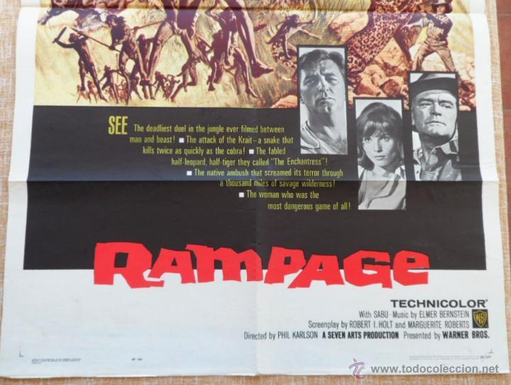 Cine: Rampage Póster original de la pelicula, Original, Doblado, Hecho en U.S.A., año 1963 - Foto 4 - 43638235