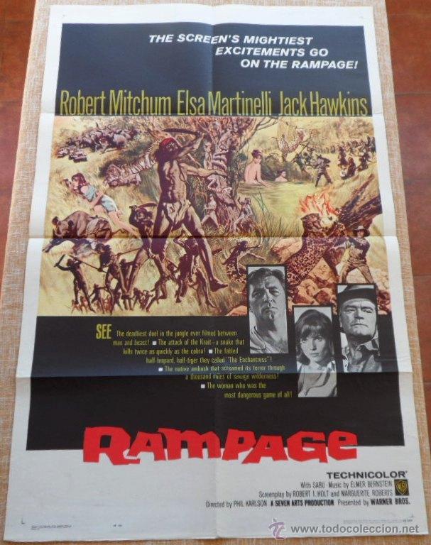 Cine: Rampage Póster original de la pelicula, Original, Doblado, Hecho en U.S.A., año 1963 - Foto 9 - 43638235