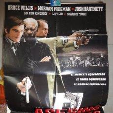 Cine: POSTER ORIGINAL ASESINO A SUELDO LUCKY NUMBER SLEVIN BRUCE WILLIS MORGAN FREEMAN JOSH HARTNETT 2006. Lote 39979401