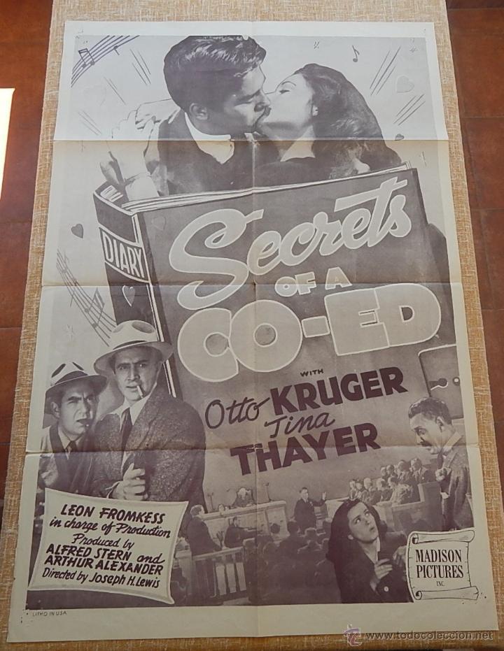 SECRETS OF A CO-ED PÓSTER ORIGINAL DE LA PELÍCULA, ORIGINAL, DOBLADO, REPRODUCCIÓN DE 1948, U.S.A. (Cine- Posters y Carteles - Drama)