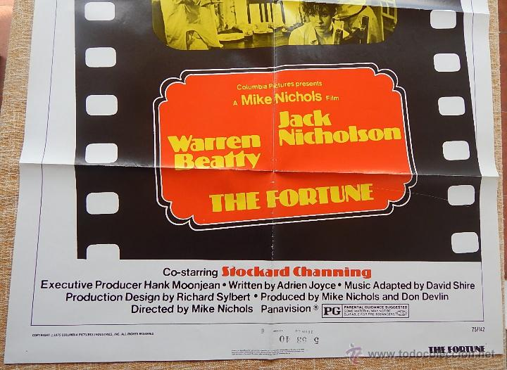 Cine: The Fortune Póster original de la película, Original, Doblado, año 1975, Hecho en U.S.A. - Foto 4 - 43680682