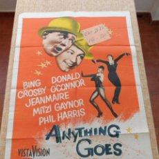 Cine: ANYTHING GOES PÓSTER ORIGINAL DE LA PELÍCULA, ORIGINAL, DOBLADO, HECHO EN U.S.A., AÑO 1956. Lote 43703047