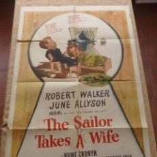 Cine: THE SAILOR TAKES A WIFE PÓSTER ORIGINAL DE LA PELÍCULA, ORIGINAL, DOBLADO, HECHO EN U.S.A., AÑO 1945. Lote 43708387