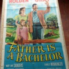Cine: FATHER IS A BACHELOR PÓSTER ORIGINAL DE LA PELÍCULA, ORIGINAL, DOBLADO, HECHO EN U.S.A., AÑO 1950. Lote 43725081