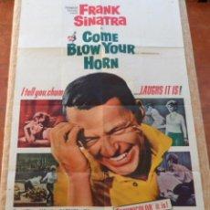 Cine: COME BLOW YOUR HORN PÓSTER ORIGINAL DE LA PELÍCULA, ORIGINAL, DOBLADO, HECHO EN U.S.A., AÑO 1963. Lote 43725121