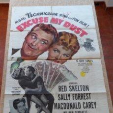 Cine: EXCUSE MY DUST PÓSTER ORIGINAL DE LA PELÍCULA, ORIGINAL, DOBLADO, HECHO EN U.S.A., AÑO 1951. Lote 43732260