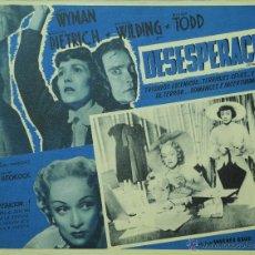 Cine: STAGE FRIGHT - DESESPERACION - MARLENE DIETRICH - HITCHCOCK - LOBBY CARD - MINI POSTER - ORIGINAL. Lote 43899875
