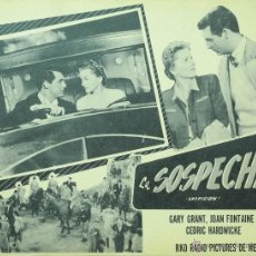 Cine: SOSPECHA - CARY GRANT - HITCHCOCK - LOBBY CARD - MINI POSTER - ORIGINAL. Lote 43899896