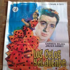 Cine: LOS CELOS Y EL DUENDE. POSTER ESTRENO 100X70. JANO. CARMEN ROJAS, JAVIER ARMET. Lote 43971100