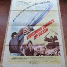 Cine: LIGHTNING SWORDS OF DEATH PÓSTER ORIGINAL DE LA PELÍCULA, ORIGINAL, DOBLADO, AÑO 1974, HECHO EN USA. Lote 43971786