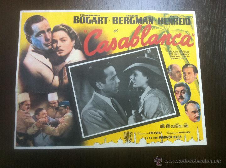 PRECIOSO Y UNICO CARTEL ANTIGUO DE LA PELICULA CASABLANCA - MUY BUEN ESTADO DE CONSERVACIÓN - (Cine- Posters y Carteles - Drama)
