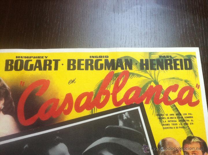 Cine: Precioso y unico cartel antiguo de la pelicula Casablanca - muy buen estado de conservación - - Foto 5 - 43981184