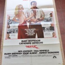 Cine: HUSTLE PÓSTER ORIGINAL DE LA PELÍCULA, ORIGINAL, DOBLADO, AÑO 1975, BURT REYNOLDS, HECHO EN U.S.A.. Lote 44106648