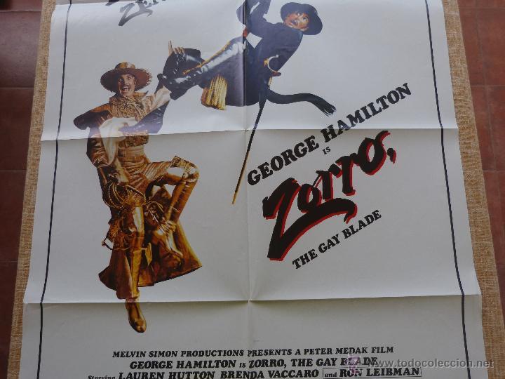 Cine: Zorro: The Gay Blade Póster original de la película, Original, Doblado, año 1981, Hecho en U.S.A. - Foto 4 - 44106937