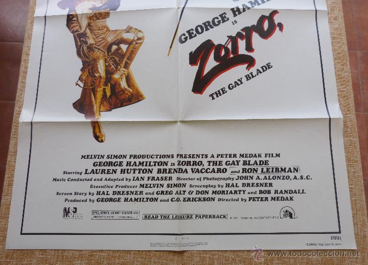 Cine: Zorro: The Gay Blade Póster original de la película, Original, Doblado, año 1981, Hecho en U.S.A. - Foto 5 - 44106937
