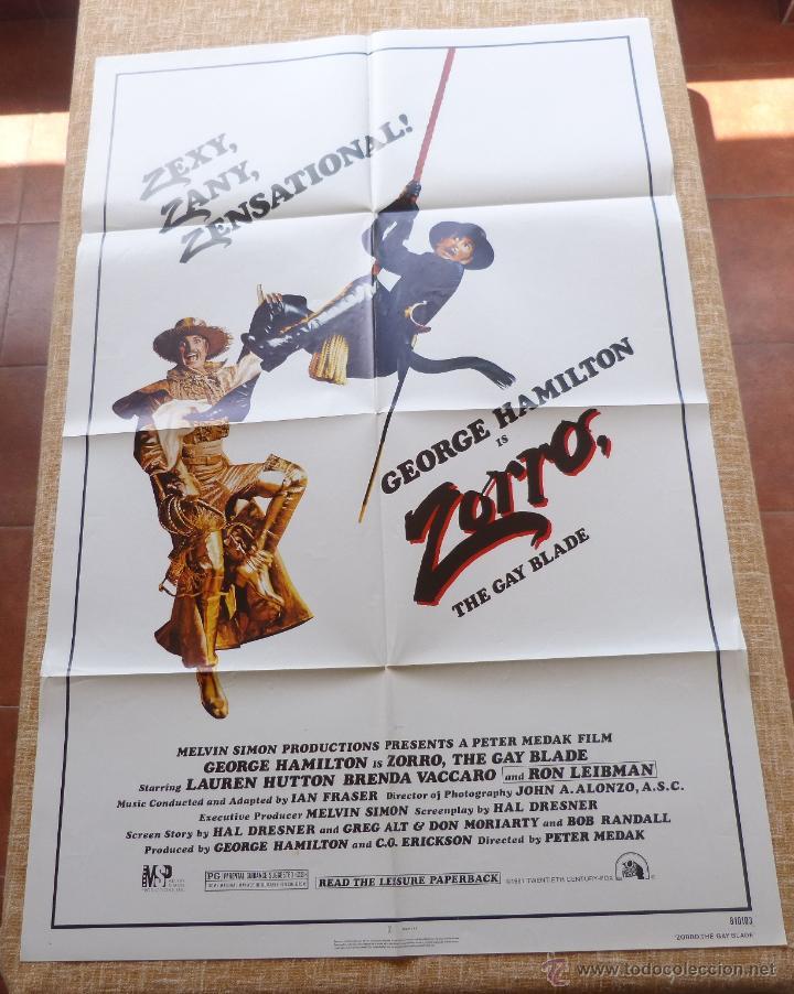 Cine: Zorro: The Gay Blade Póster original de la película, Original, Doblado, año 1981, Hecho en U.S.A. - Foto 6 - 44106937