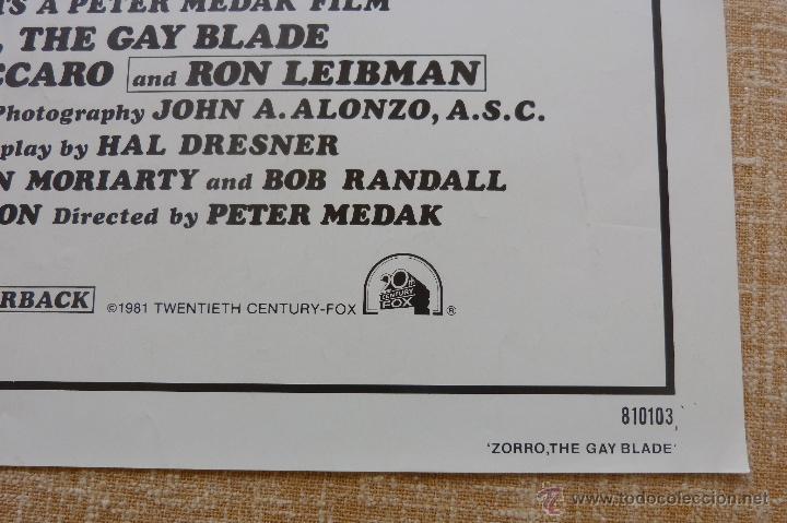 Cine: Zorro: The Gay Blade Póster original de la película, Original, Doblado, año 1981, Hecho en U.S.A. - Foto 7 - 44106937