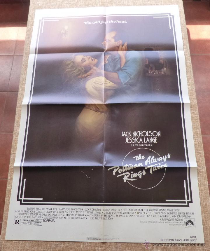 THE POSTMAN ALWAYS RINGS TWICE PÓSTER ORIGINAL DE LA PELÍCULA, ORIGINAL, DOBLADO, AÑO 1981, U.S.A. (Cine- Posters y Carteles - Drama)