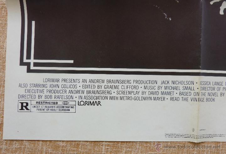 Cine: The Postman Always Rings Twice Póster original de la película, Original, Doblado, año 1981, U.S.A. - Foto 8 - 44107444
