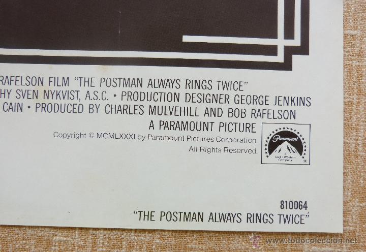 Cine: The Postman Always Rings Twice Póster original de la película, Original, Doblado, año 1981, U.S.A. - Foto 9 - 44107444