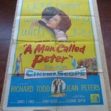 Cine: A MAN CALLED PETER PÓSTER ORIGINAL DE LA PELÍCULA, ORIGINAL, DOBLADO, AÑO 1955, HECHO EN U.S.A.. Lote 44124988