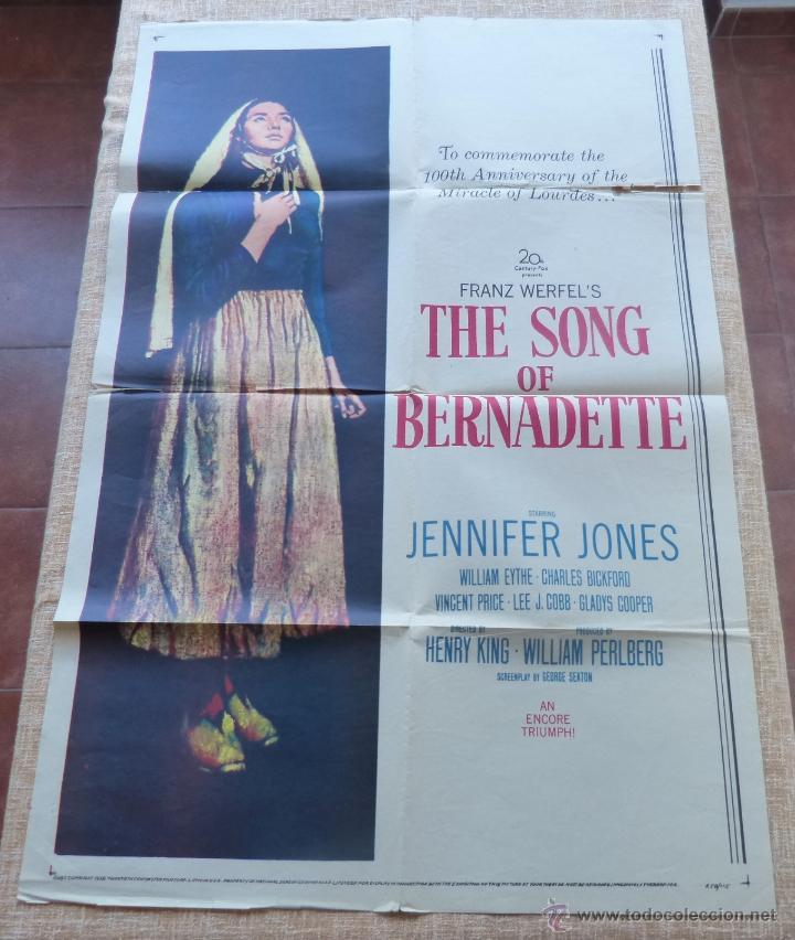 THE SONG OF BERNADETTE PÓSTER ORIGINAL DE LA PELÍCULA, ORIGINAL, DOBLADO, AÑO 1958, HECHO EN U.S.A. (Cine- Posters y Carteles - Drama)