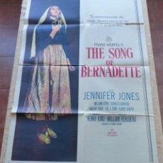 Cine: THE SONG OF BERNADETTE PÓSTER ORIGINAL DE LA PELÍCULA, ORIGINAL, DOBLADO, AÑO 1958, HECHO EN U.S.A.. Lote 44125294