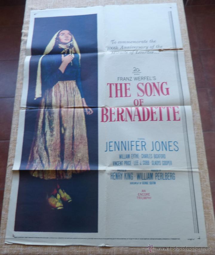 Cine: The Song of Bernadette Póster original de la película, Original, Doblado, año 1958, Hecho en U.S.A. - Foto 3 - 44125294