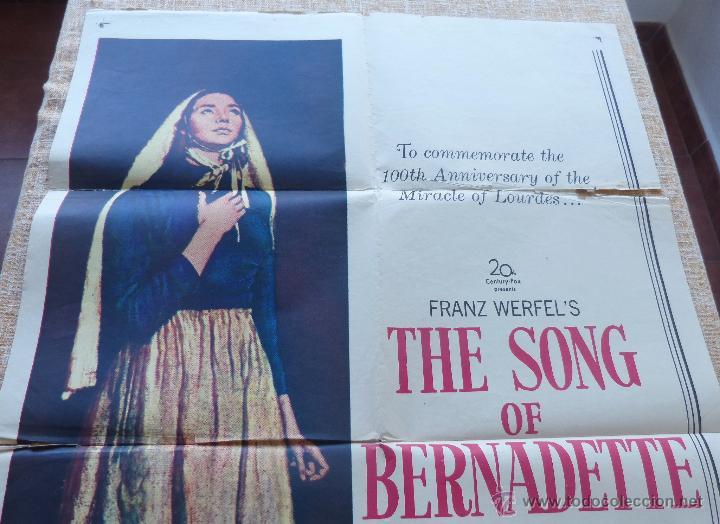 Cine: The Song of Bernadette Póster original de la película, Original, Doblado, año 1958, Hecho en U.S.A. - Foto 4 - 44125294